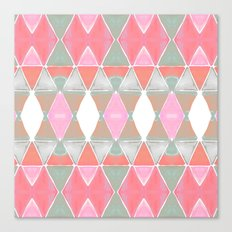 Art Deco Triangles Coral Grey Canvas Print