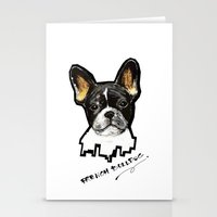 french bulldog Stationery Cards featuring French Bulldog by Det Tidkun