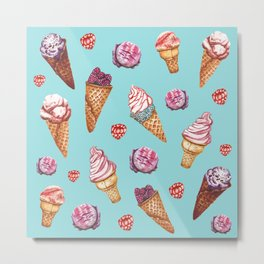 Pink and Blue ice cream pattern Metal Print