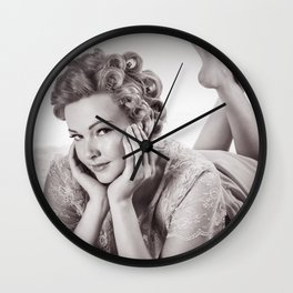 """Curlers Before Bed"" - The Playful Pinup - Lounging in Lace Pin-up Girl by Maxwell H. Johnson Wall Clock"