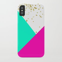 Stylish neon pink turquoise color block gold girly iPhone Case