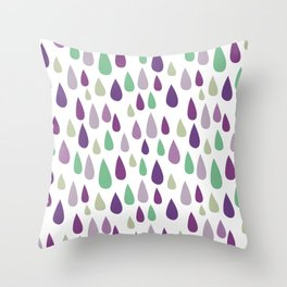 Hand painted pastel lilac purple green water drops pattern Throw Pillow
