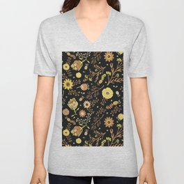 Golden Florals Unisex V-Neck