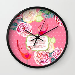 Hipster Birds Paisley Floral Prints Pattern GREAT things Text Wall Clock