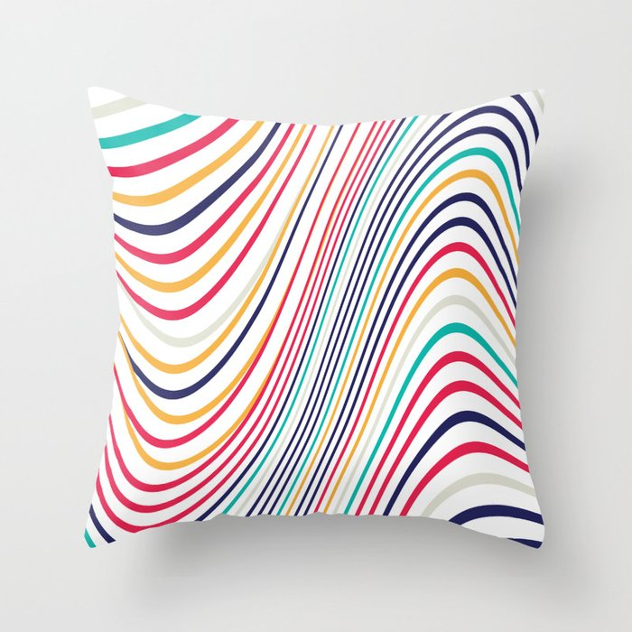 Abstract color waves Throw Pillow