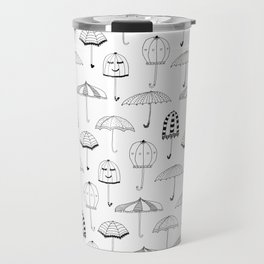 Happy Umbrellas Pattern - white Travel Mug