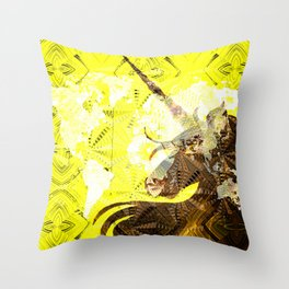 Bright Yellow Golden Vintage Unicorn Stamp World Map Boho Print Throw Pillow
