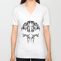 punisher V-neck T-shirts featuring Tribal Punisher by Kush Wright