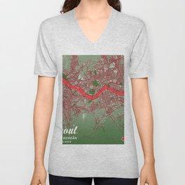Seoul - South Korean Christmas Color City Map Unisex V-Neck