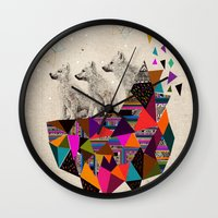 kris tate Wall Clocks featuring The Night Playground by Peter Striffolino and Kris Tate by Peter Striffolino