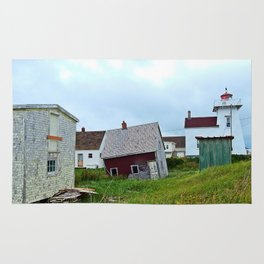 Lighthouse and shacks in North-Rustico PEI Rug