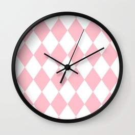 Diamonds (Pink/White) Wall Clock