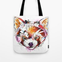 red panda Tote Bags featuring Red Panda  by Abby Diamond
