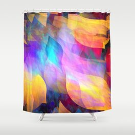 Colourful abstract with leaf shapes Shower Curtain