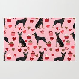 Miniature Doberman Pinscher valentines day cupcakes hearts pure breed dog gifts Rug