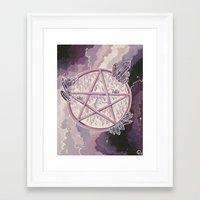 pentagram Framed Art Prints featuring Amethyst Pentagram by Liz Ogletree