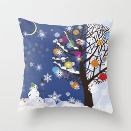 """Seasons"" Autumn-Winter Throw Pillow"