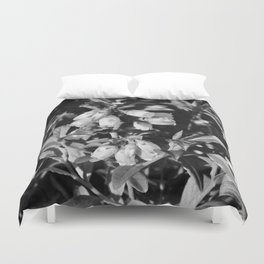 Tiny Blossoms On A Dirt Road in Black and White Duvet Cover
