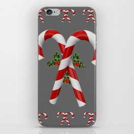 RED-WHITE  CHRISTMAS CANDY CANES HOLLY BERRIES iPhone Skin