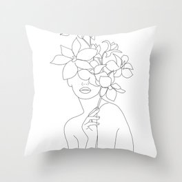 Minimal Line Art Woman with Orchids Throw Pillow