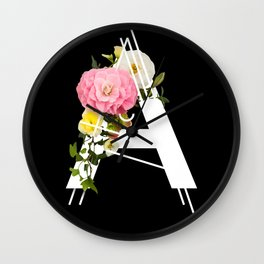Typography Design - Floral A Wall Clock