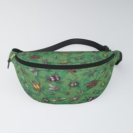 Bugs & Insects on Green Floral Background Fanny Pack