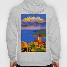 Vintage Spiez Switzerland Travel Poster Hoody