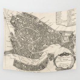 Vintage Map of Venice Italy (1764) Wall Tapestry
