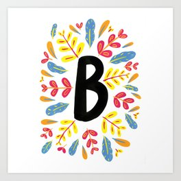 Letter 'B' Initial/Monogram With Bright Leafy Border Art Print
