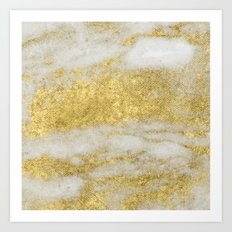 Marble - Glittery Gold Marble and White Pattern Art Print