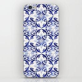 blue tile pattern VI - Azulejos, Portuguese tiles iPhone Skin