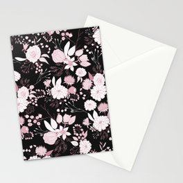 Blush pink white black rustic abstract floral illustration Stationery Cards