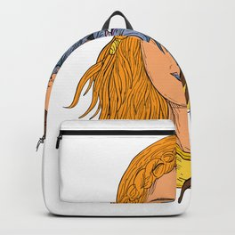 Hel Norse Goddess Face Front Drawing Color Backpack