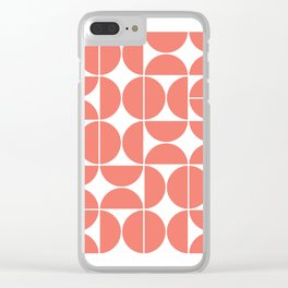 Mid Century Modern Geometric 04 Living Coral Clear iPhone Case