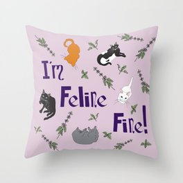 Kitty Cats and Catnip Illustrated Typography Print in Lavender Purple Throw Pillow