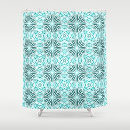 Aqua Delicate Flowers Shower Curtain