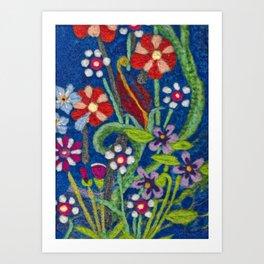 Cozy Felted Wool Flower Garden Art Print