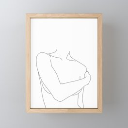 Nude figure line drawing - Judy Framed Mini Art Print