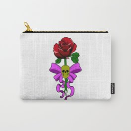 Rose with gold skull and pink bow Carry-All Pouch