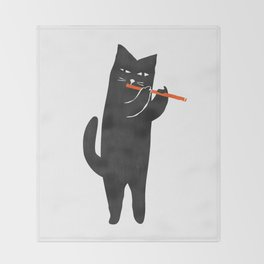 Black cat with flute Throw Blanket