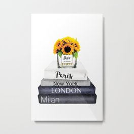 Books, Sunflowers, City's,Cities, travel, Fashion illustration, Amanda Greenwood, watercolor Metal Print