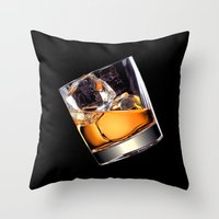 whisky Throw Pillows featuring Whisky on the Rocks by FantasyArtDesigns