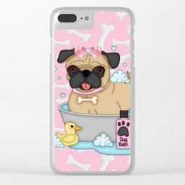 Pug Girl Bath Time Clear iPhone Case