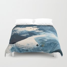 Against the Current: A bold, minimal abstract acrylic piece in blue, white and gold Duvet Cover