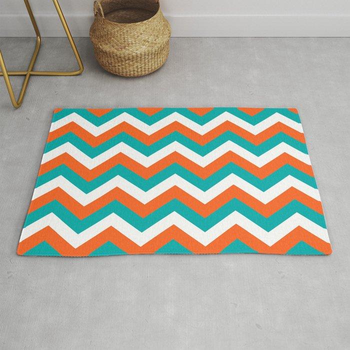 Teal Orange Chevron Pattern Rug By