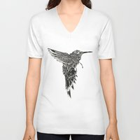 plain V-neck T-shirts featuring HummingBird Plain by efan