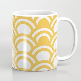 Yellow & White Half Circle Pattern Coffee Mug