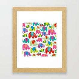 Colorful india elephant kids illustration pattern Framed Art Print