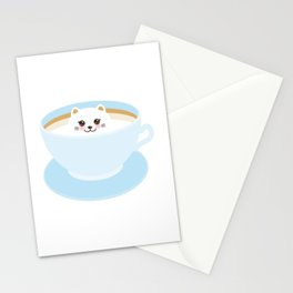 Cute Kawai cat in blue cup Stationery Cards