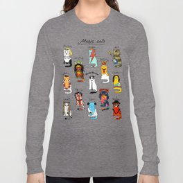 Famous Music Cats – Most Popular Musicians of the World Long Sleeve T-shirt